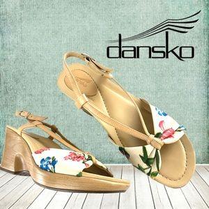 Dansko's flower print slingback sandal clog sz 39